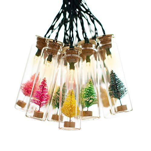 shinar Solarleuchten solar Lichterkette mit 15 Glasflaschen Weihnachtsbäume solarlampe Solarbetrieb Deko Beleuchtung Warmweiß wasserdicht für Weihnachtsanhänger,Weihnachtsschmuck zur Dekoration