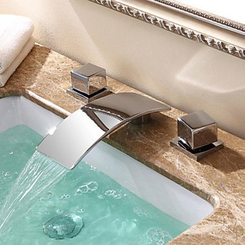 SUNNY KEY-Bathroom Sink Taps@?ìContemporary   Modern Waterfall Ceramic Valve Two Handles Three Holes for Chrome Bathtub Faucet
