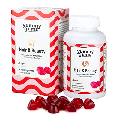 Yummygums Haut Haare & Nägel Gummibärchen hochdosiert mit Haarvitamin Biotin - 60 leckere Hair & Beauty Vitamine für eingesundes Hautbild, vitales Haar und starke Nägel - 100% Vegan