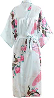 ANIAC Women Kimono Robe Long Nightgown Stain Peacock Wedding Bridesmaid Dressing Gown Bridal