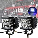 Luce LED Tiratore Laterale, 45W Luci Stroboscopiche per Cubo di Emergenza per Auto da 12 Baccelli LED Lampada da Lavoro per Fendinebbia Laterale per Jeep ATV SUV Truck Boat (2PCS-Luce Blu Laterale)