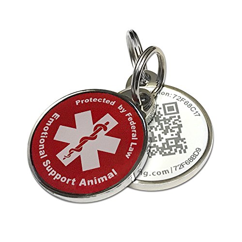 PetDwelling ESA QR Code Pet ID Tag Links to Online Profile w//ESA ID /Emergency Contact /Medical Info /Google Map Location Stamp (Red Adv)