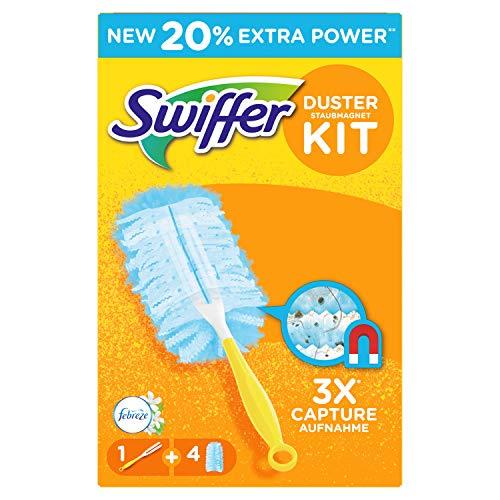 Swiffer Duster-Kit con manico per aspiratore per Duster 4 piumini profumo Febreze