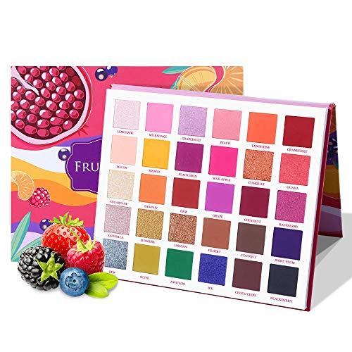 BHUJYG 30 Farben Obstkuchen Füllung Lidschatten-Palette Makeup Kit Glow Helle Glitter Schimmer Matt Shades Pigment Lidschatten