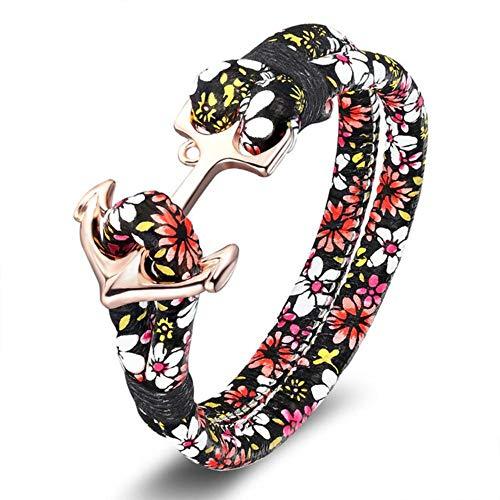ASIG Anker Armband Voor Vrouwen Mannen Nautische Polsband Sieraden Mode Bloemenpatroon Print Meisje En Jongen Bedel Armband