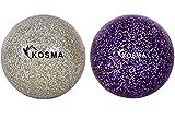 Kosma - Juego de 2 pelotas de hockey con purpurina para deportes al aire libre (PVC), color plateado y morado