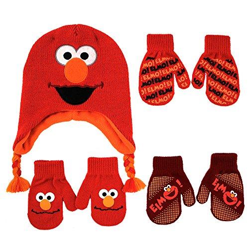 Sesame Street Elmo Hat and 2 Pair Mittens Cold Weather Set, Size Age 2-4, Elmo Mitten 2-4