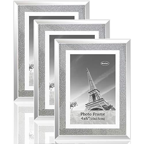 meetart Kristall glänzender silberner Spiegel Glas Fotorahmen Größe 10x15cm, Set mit 3 Fotorahmen. bilderrahmen Glitzer