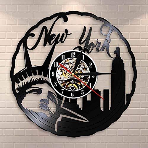 Regalos para Hombres New York Skyline Vintage Vinyl Record Reloj de Pared NYC Estatua de la Libertad Freedom Wall Art America Travel Gift Home Interior Design Dormitorio Accesorios