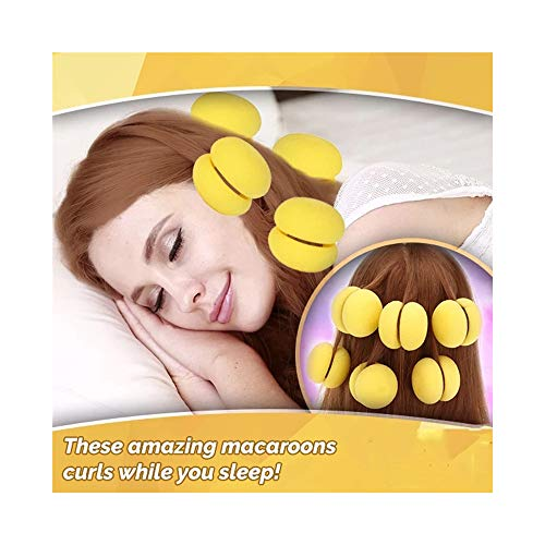 DZTZ 6PCS Soft Hair Sponge Balls Hair Roller Bun Foam Round Curlers Practical Hair Care Tool Natural No Heat Hair Rollers for Women Girls Magic Sleep Round Hair Curlers Roller (Yellow)