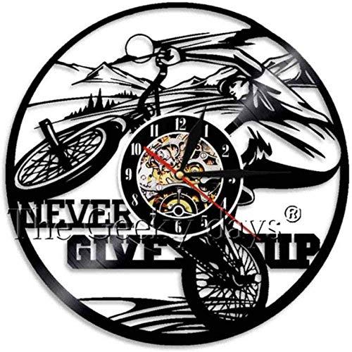 Vinyl Wandklok Fiets Home Decor Inspirerend Citaat Geef nooit Horloge Sport Handgemaakt Cadeau Voor Paardrijfans 12 Inch 12 Inch Vinyl Wandklok op