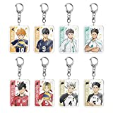 8pcs Haikyuu Keychains Anime Keychain Acylic Keyring Karasuno High School Cartoon Figure Keychain Accessorie Pendant
