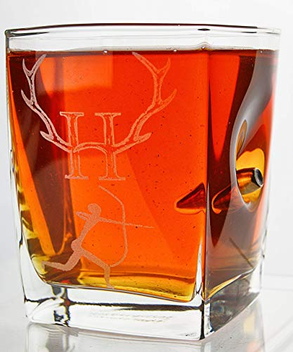 KolbergGlas Hunter-Jäger Geschenk-Trink Glas mit realem Geschoß cal.308 und Gravur