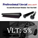 Mkbrother Uncut Roll Window Tint Film 5% VLT 24' in x 25' Ft Feet (24 X 300 Inch) Car Home Office Glasss