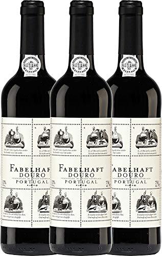 VINELLO 3er Weinpaket Rotwein - Fabelhaft Tinto Douro DOC 2019 - Niepoort mit Weinausgießer | trockener Rotwein | portugiesischer Wein vom Douro | 3 x 0,75 Liter