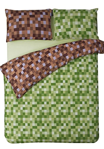 HBS Pixel Bedding Set Double Bed Duvet/Quilt Cover Bedding Set Pixel Squares Reversible Check Bedding Duvet Cover with Pillowcases Green & Brown