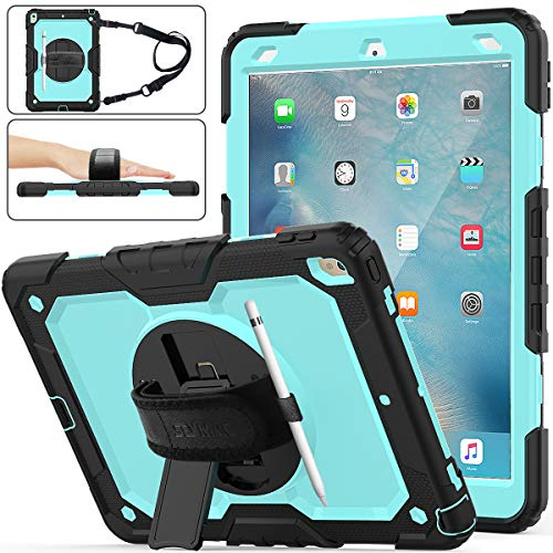 iPad Air 3rd Gen 2019/iPad Pro 10.5' 2017 Case, [Full-Body] & [Shock Proof] Hybrid Armor Protective Case with 360 Rotating Stand & Strap for iPad Air 3 10.5' 2019/iPad Pro 10.5' 2017 (SkyBlue+Black)