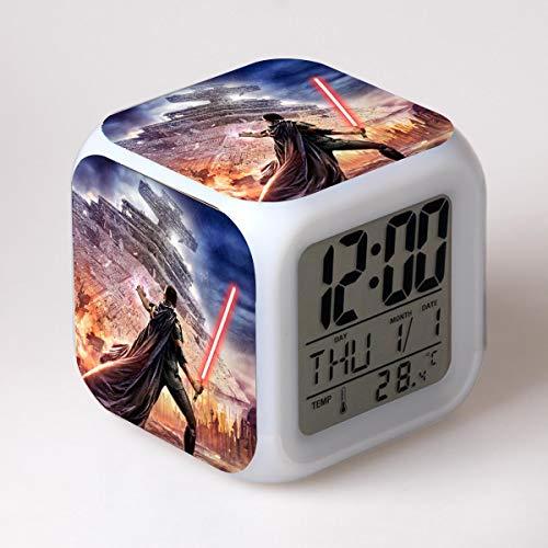 FDGFDG Planet Reloj Despertador Digital LED Color cambiante Dormitorio decoración 3D Reloj electrónico Reloj niño Multifuncional Escritorio Reloj Juego película