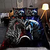 Kantee Blue Dragon and Wolf Quilt Bed Set Comfy Funny Bed Quilt Bed Set Bedding Set Animals (Black - Single, Throw, Twin, Queen, King, Super King Size)