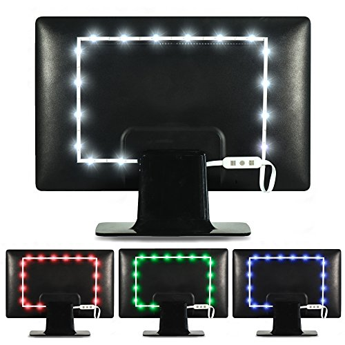 Luminoodle Color Bias Lighting - 15 Color LED Strip Lights with Remote - USB Powered TV Light, RGB Computer Monitor Backlight - Small (<24