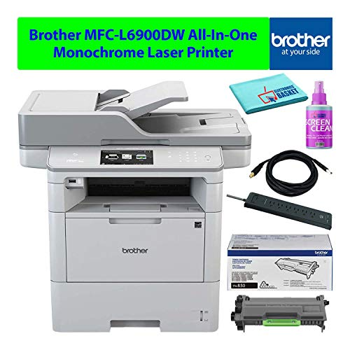 Brother MFC-L6900DW All-in-One AIO Multifunction Wireless Monochrome Laser Printer with Auto-Duplex Best-Value Bundle - Includes - Essential Cleaning Kit + Extra Toner