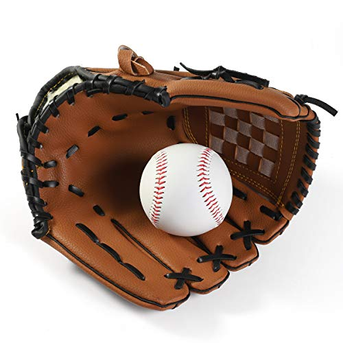 Kids Youth Baseball Glove for Left Hand, Premium Leather Softball Glove Sports Batting Gloves Pitcher Catcher's Mitts for Boys Girls - 11.5 inch, One Piece