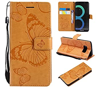 Amocase Wallet Leather Case with 2 in 1 Stylus for Samsung Galaxy S8,Premium Strap 3D Butterfly Magnetic PU Leather Stand Shockproof Card Slot Case for Samsung Galaxy S8 - Yellow