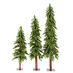 Add a welcome feeling to any space in your home with the addition of this decorative faux tree set. Comes unlit, ready for you to add your favorite lights Complement your holiday decor with a Natural Alpine Artificial Christmas Tree Set. Easy Assembl...