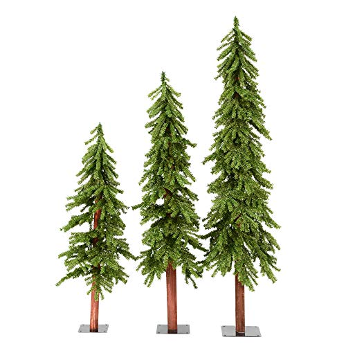 Vickerman Unlit Natural Alpine Tree Set with three trees sized 4', 5', and 6'