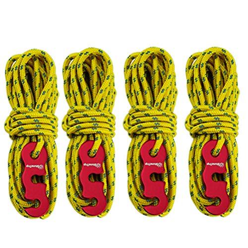 VOSAREA Abspannseile Leuchtend Reflektierend Zeltschnüre Zeltheringe mit Schnalle für Camping Zelt Outdoor Verpackung 3m 4 Stück (Gelb)
