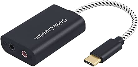 USB-C Audio Adapter, CableCreation Type C External Stereo Sound Card with Headphone and Microphone Jack Compatible with Windows, Mac, iPad Pro 2018, Plug and Play, Black