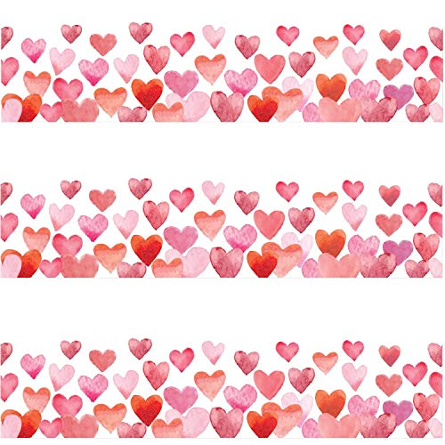 Water Color Heart Scalloped Bulletin Board Borders for Valentine's Day Classroom Decoration 36 Feet
