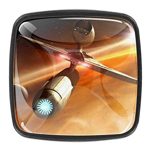 4 paquetes de perillas para cajones Obra de arte estrella Tiradores de cajón de gabinete de perillas de vidrio negro hechos a mano para decoración de habitación infantil 3x2.1x2 cm
