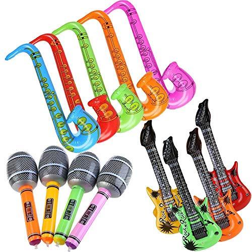 TOOGOO Palloncini per Microfono per Sassofono per Chitarra Gonfiabile Accessori per Strumenti Musicali Divertenti per La Festa di Compleanno Colore Casuale (12 Pezzi)