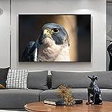 Art moderne peinture Animalière Hibou grand-duc à la recherche d'art toile bureau salon couloir décoration de la maison murale 60X80cm No Frame