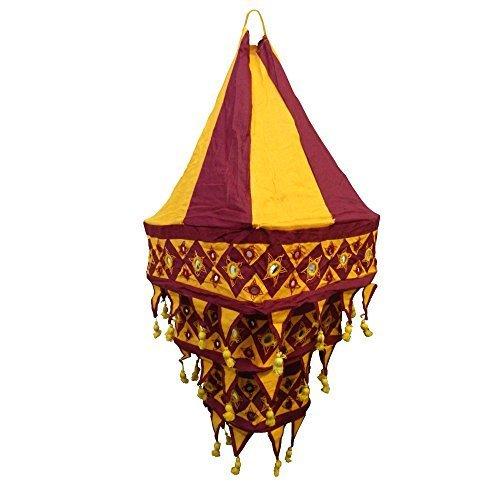 Lampenschirm Laterne quadratisch 70 cm Pendelleuchte Baumwoll-Patchwork Wohnen Dekoration Beleuchtung Innenbeleuchtung (bordeaux - orange)