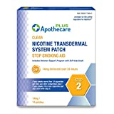 Apothecare Plus Nicotine Transdermal System Patch 14 Mg Delivered Over 24 Hours   Stop Smoking Aid   Step 2, Clear, 14 Patches, 14 Count