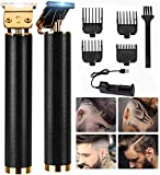 Hair Clippers, Electric Pro Li Outliner Grooming Kits Rechargeable Waterproof Cordless Close Cutting T-Blade Trimmer for Men Zero Gapped Detail Beard (Black)