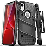 ZIZO Bolt Series for iPhone XR Case Military Grade Drop Tested with Tempered Glass Screen Protector Holster and Kickstand Metal Gray Black