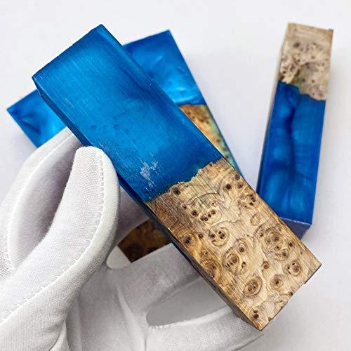 JAP768 1 stück Harz k-nife Griffmaterial für DIY Messer Griff Harz MISCHEN SUBLAP Holzplatte Material 105x34x27mm (Farbe : 1pc Blue 105X34X27mm)