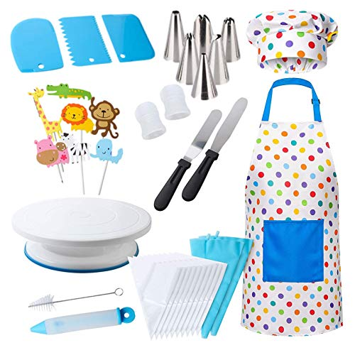 XIYIN Cake Decorating Kit for Kids, 38 Pcs Cooking and Baking Set Gift for Girls Or Boys with Apron Chef Hat, Cake Turntable Supplies for The Curious Junior Chef Ages 5+ Years