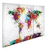 Close Up® XXL Weltkarte Leinwandbild Watercolor Splash - 3-teiliger Leinwanddruck 120x 80cm,...
