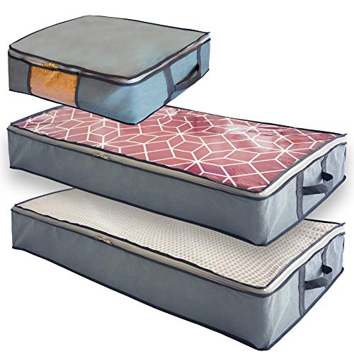 Undercover Cubes 3 Under Bed Storage Bins, Underbed Storage Containers with Clear Windows and Reinforced Handles by Mill & Mint, Gray
