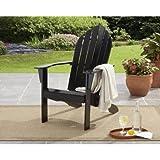 Mainstays Adirondack Chair Black l l 26.50 x 34.00 x 40.25 l Comfortable Wide Backrest