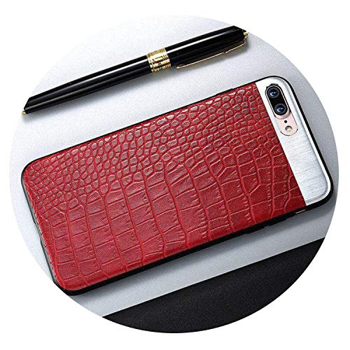 Pu Leather Phone Case for iPhone 6S 6 7 8 Plus 10 X Crocodile Stripe Metal Stitching Cases for iPhone 7 8 X Plus Cover,Brown,for iPhone 6 6S-Red-foriphoneX10