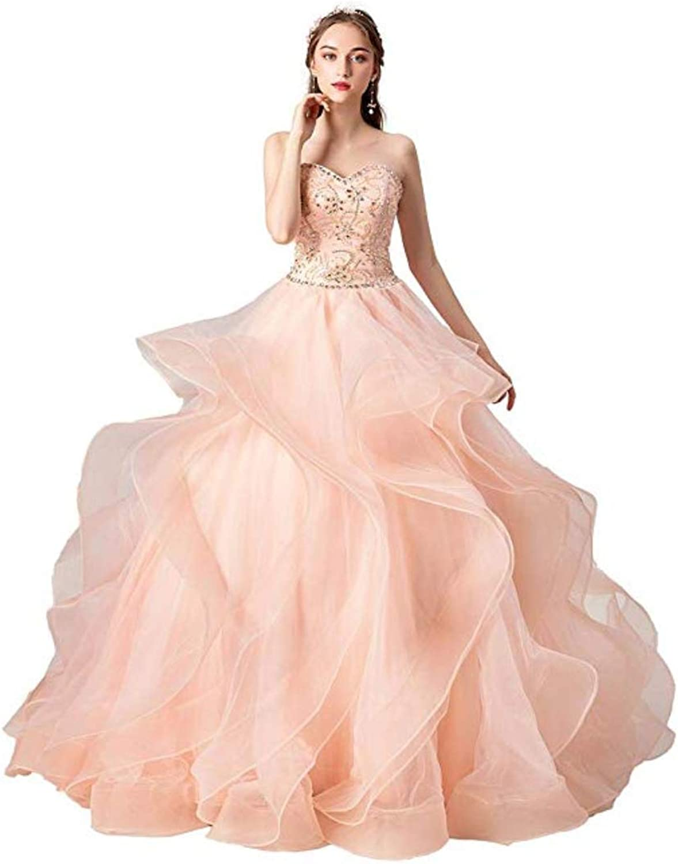 Haixiangdress Women's Sexy Strapless Evening Party Dress Bridal Pretty Ball Gown Quinceanera Dress