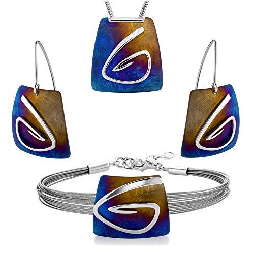 LillyMarie dames zilveren sieraden 925 hanger titan vierkant meerkleurig lengte verstelbare kast kleine geschenken