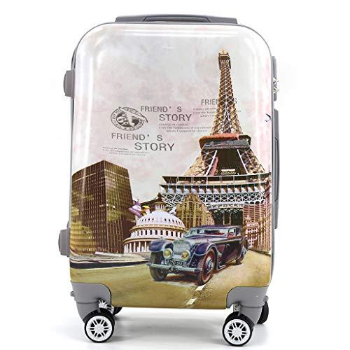 Maleta de Cabina Trolley de Viaje Equipaje de Mano 4 Ruedas giratorias 360grados Dibujos Fantasia Paisaje (Paris)