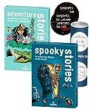 Block Stories Junior - Set: Spooky Stories & Adventure Stories + 2X Exit-Sticker + 1x optisches Täuschungsposter