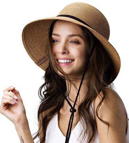 Womens Wide Brim Sun Hat with Wind Lanyard UPF Summer Straw Sun Hats for Women Khaki